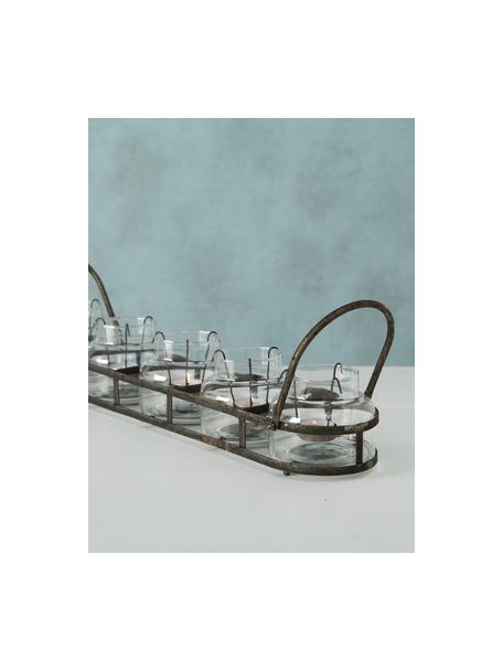 Set de portavelas Zuma, 6pzas., Portavelas: vidrio, Transparente, metal con efecto envejecido, An 64 x Al 13 cm