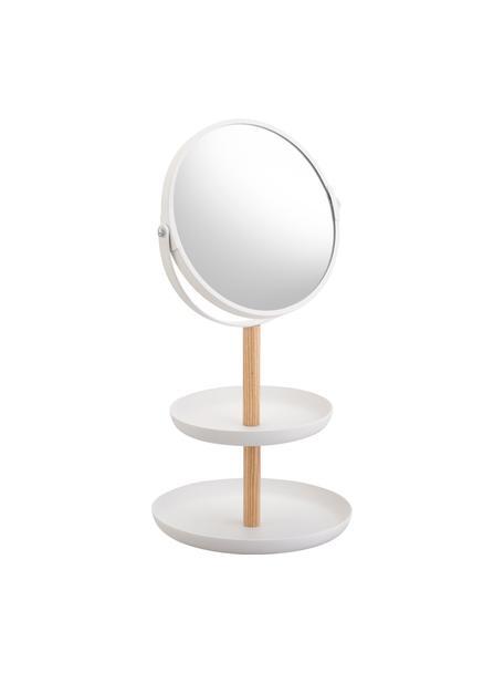 Runder Kosmetikspiegel Tosca mit Ablageflächen und Vergrösserung, Stange: Holz, Spiegelfläche: Spiegelglas, Weiss, Beige, 18 x 33 cm