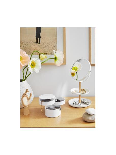Specchio cosmetico con ingrandimento Tosca, Asta: legno, Superficie dello specchio: lastra di vetro, Bianco, marrone, Larg. 18 x Alt. 33 cm