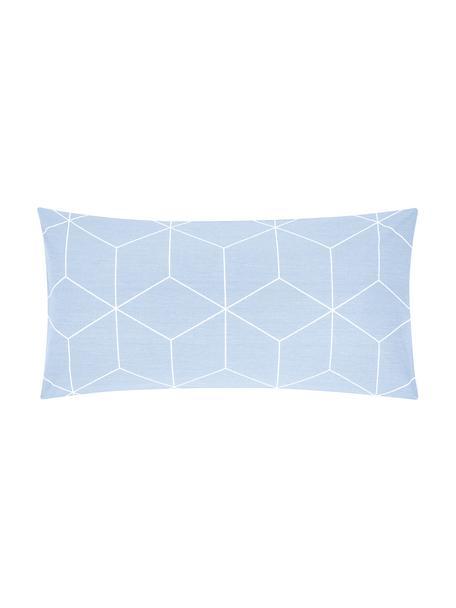 Baumwoll-Kopfkissenbezüge Lynn mit grafischem Muster, 2 Stück, Webart: Renforcé Fadendichte 144 , Hellblau, Cremeweiß, 40 x 80 cm