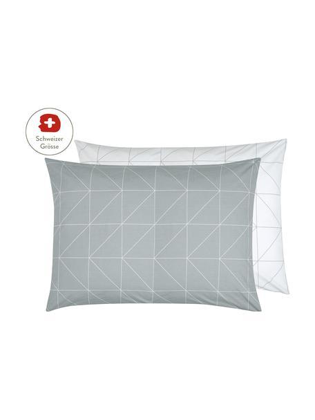 Baumwoll-Wendekissenbezug Marla mit grafischem Muster, 50 x 70 cm, Webart: Renforcé Fadendichte 144 , Grau, Weiss, 50 x 70 cm