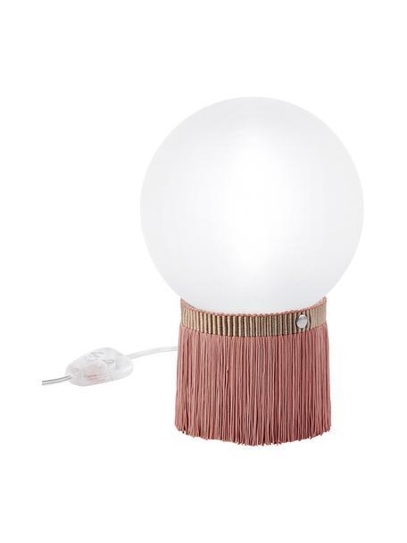 Lámpara de mesa regulable pequeña Atmosfera Fringe, Pantalla: metacrilato, Opalflex, Cable: plástico, Rosa, blanco, An 20 x Al 30 cm