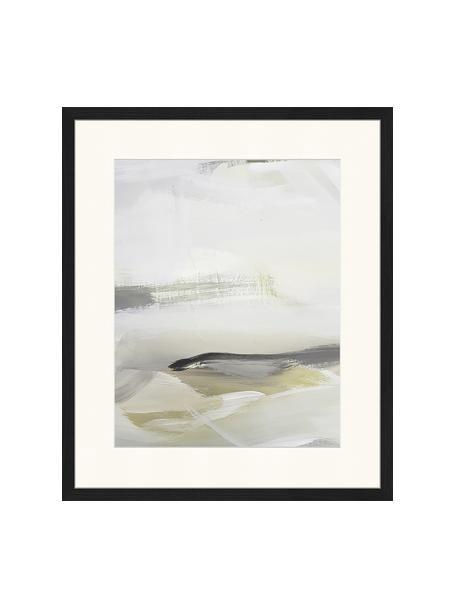 Oprawiony druk cyfrowy Green Abstract, Wielobarwny, S 53 x W 63 cm