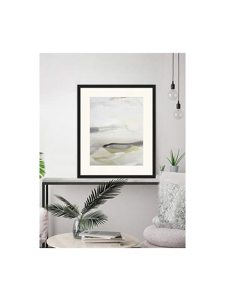 Ingelijste digitale print Green Abstract, Afbeelding: digitale print op papier,, Frame: gelakt hout, Multicolour, 53 x 63 cm