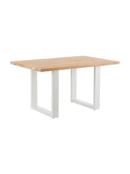 Mesa de comedor Oliver, tablero de madera maciza, Tablero: madera de roble silvestre, Patas: metal con pintura en polv, Roble natural, An 140 x F 90 cm