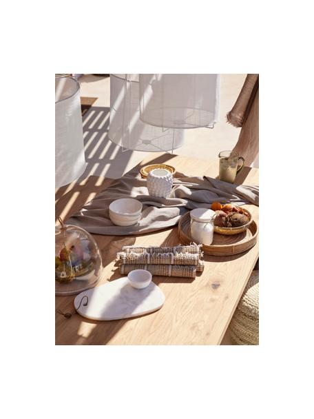 Tavolo con piano in legno massello Oliver, Gambe: metallo verniciato a polv, Quercia selvatica, bianco, Larg. 140 x Prof. 90 cm
