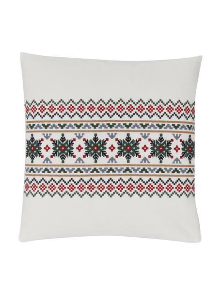 Bestickte Kissenhülle Finn mit winterlichem Motiv, 100% Baumwolle, Mehrfarbig, 45 x 45 cm
