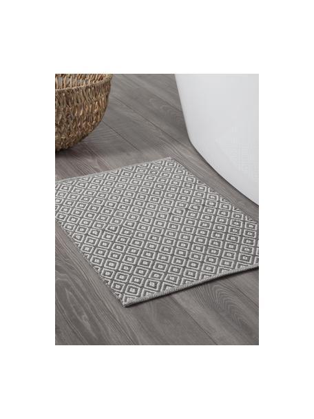 Dywanik łazienkowy w stylu boho Erin, 100% bawełna, Szary, biały, S 60 x D 90 cm