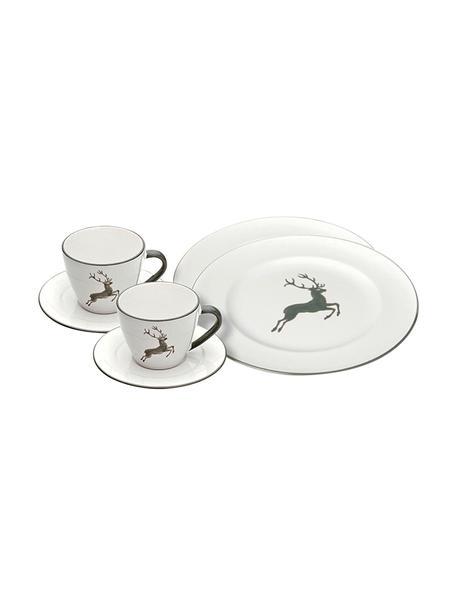 Servizio da caffè dipinto a mano Gourmet Grauer Hirsch 6 pz, Ceramica, Grigio, bianco, Set in varie misure