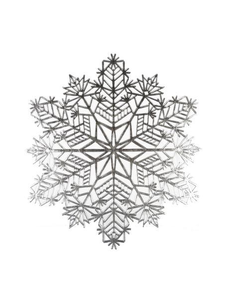 Schneeflocken-Tischsets Snowflake in Silber aus Kunststoff, 2 Stück, Kunststoff (PCV), Silberfarben, Ø 38 cm