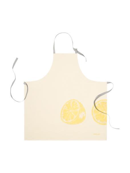 Grembiule in cotone Zitrone, 100% cotone, Giallo, grigio, Larg. 80 x Lung. 80 cm