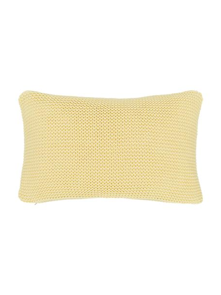 Federa arredo a maglia in cotone biologico giallo chiaro Adalyn, 100% cotone biologico, certificato GOTS, Giallo chiaro, Larg. 30 x Lung. 50 cm