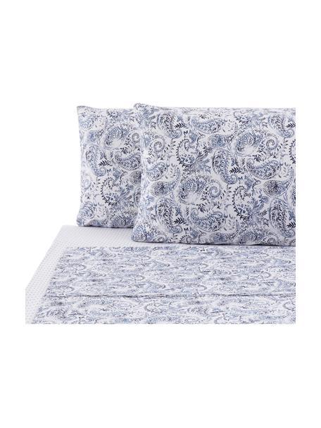 Set lenzuola in cotone Yumi, Tessuto: Renforcé Renforcé è reali, Blu, bianco, 290 x 240 cm + 2 federe 50 x 80 + lenzuola 170 x 200 cm