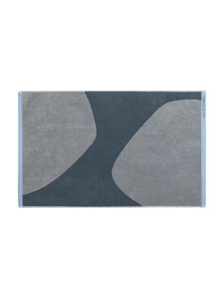 Tappeto bagno in cotone biologico blu/grigio con motivo astratto Rock, 100% cotone biologico, Blu, grigio, Larg. 50 x Lung. 80 cm