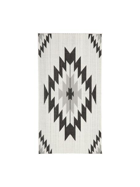 In- & outdoor vloerkleed Ikat met ethno patroon, 86% polypropyleen, 14% polyester, Crèmewit, zwart, grijs, B 80 x L 150 cm (maat XS)