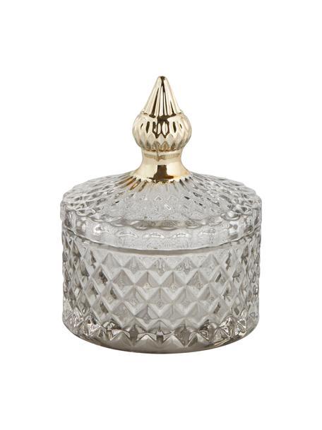 Aufbewahrungsdose Miya, Glas, Grau, transparent, Goldfarben, Ø 9 x H 11 cm
