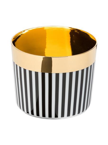 Bicchiere champagne placcato oro in porcellana Sip of Gold, Bordo: oro placcato, Nero, bianco, dorato, Ø 9 x Alt. 7 cm