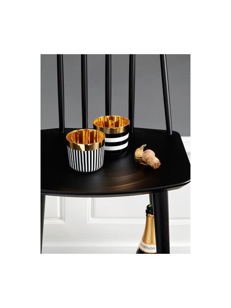 Kubek do szampana z porcelany Sip of Gold, Czarny, biały, złoty, Ø 9 x W 7 cm