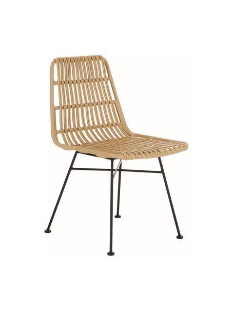 Krzesło z polirattanu Costa, 2 szt., Stelaż: metal malowany proszkowo, Jasny brązowy, czarny, S 47 x G 61 cm
