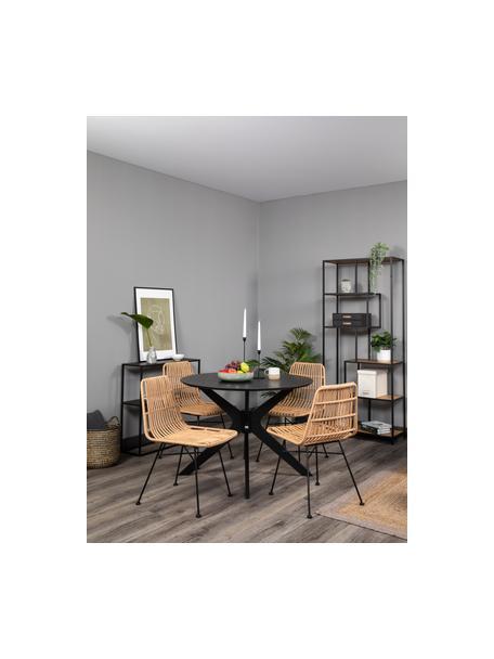 Sedia intrecciata Costa 2 pz, Seduta: intreccio in polietilene, Struttura: metallo verniciato a polv, Marrone chiaro, nero, Larg. 47 x Prof. 61 cm