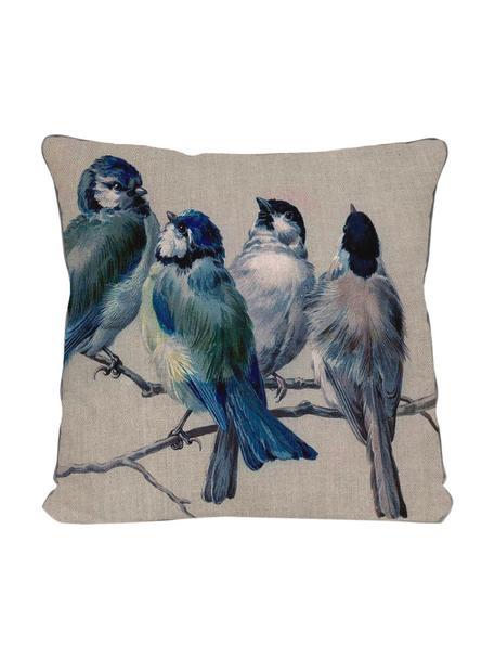 Cojín Blue Birds, con relleno, Funda: microfibra de poliéster, Multicolor, An 45 x L 45 cm