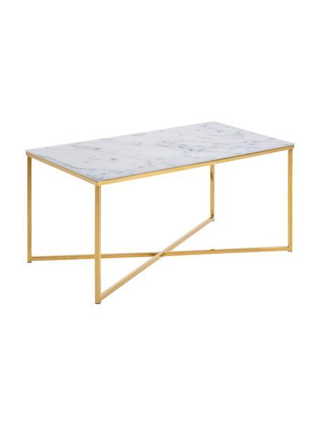 Tavolino da salotto con piano in marmo Aruba, Piano d'appoggio: vetro opaco stampato, Struttura: acciaio ottonato, Bianco, grigio marmorizzato, ottonato, Larg. 90 x Alt. 45 cm