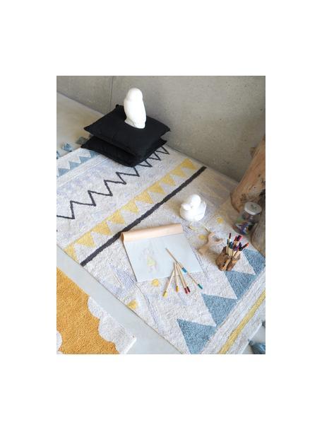 Tappeto in cotone con nappe e motivo colorato Azteca, Retro: cotone riciclato, Beige, giallo, blu, grigio, grigio scuro, Larg. 120 x Lung. 160 cm (taglia S)