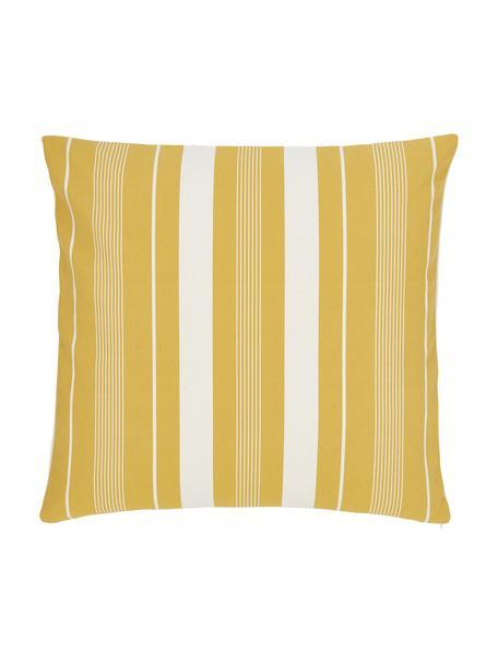 Gestreepte kussenhoes Raji in crèmewit/geel, 100% katoen, Wit, geel, 45 x 45 cm
