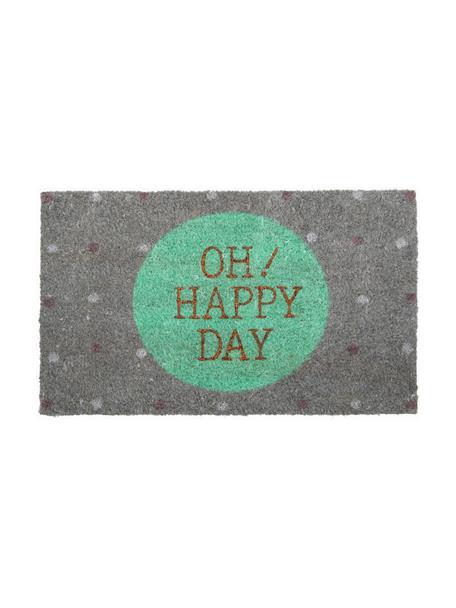 Deurmat Oh Happy Day!, Bovenzijde: kokosvezels, Onderzijde: vinyl, Grijs, pastelgroen, goudkleurig, 45 x 75 cm