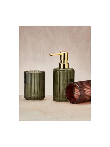 Dosificador de jabón de vidrio Antoinette, Recipiente: vidrio, Dosificador: metal, Verde oliva, Ø 8 x Al 17 cm