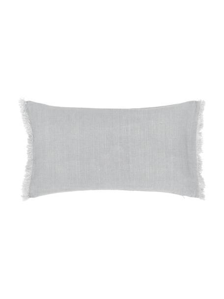 Poszewka na poduszkę z lnu z frędzlami Luana, 100% len, Jasny szary, S 30 x D 50 cm