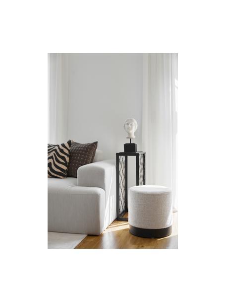 Puf de tejido bouclé Orchid, Tapizado: tejido bouclé (70%poliés, Estructura: cartón, madera contrachap, Bouclé gris claro, negro, Ø 38 x Al 38 cm