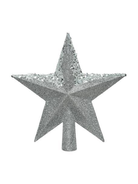 Bruchsichere Weihnachtsbaumspitze Stern Ø 19 cm, Kunststoff, Glitzer, Silberfarben, 20 x 20 cm