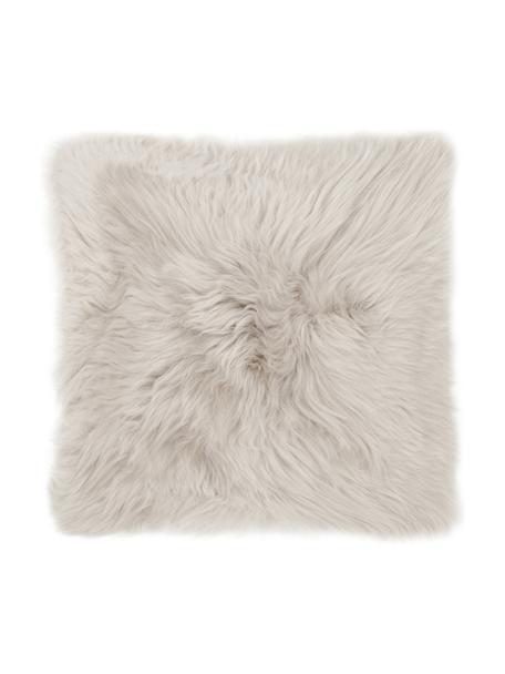 Poszewka na poduszkę ze skóry owczej Oslo, gładka, Beżowy, S 40 x D 40 cm