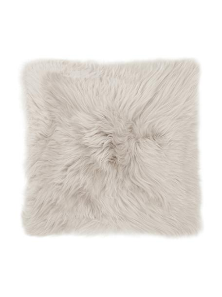 Poszewka na poduszkę ze skóry owczej Oslo, Beżowy, S 40 x D 40 cm