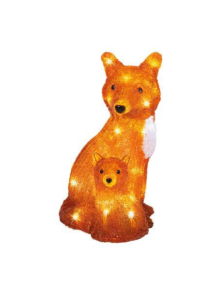 Batterij-aangedreven LED lichtobject Fox, Kunststof, Oranje, wit, zwart, 21 x 34 cm