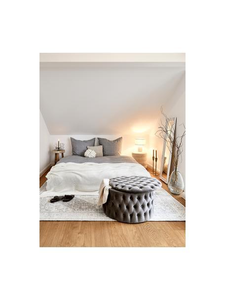 XL fluwelen poef Chiara met opbergruimte, Bekleding: fluweel (polyester), Frame: eucalyptushout, Grijs, Ø 70 x H 42 cm