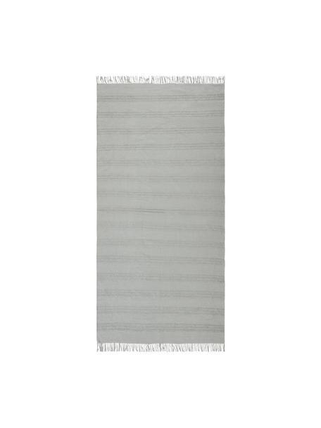 Katoenen vloerkleed Tanya met ton sur ton geweven streepstructuur en franjes, 100% katoen, Lichtgrijs, B 70 x L 150 cm (maat XS)