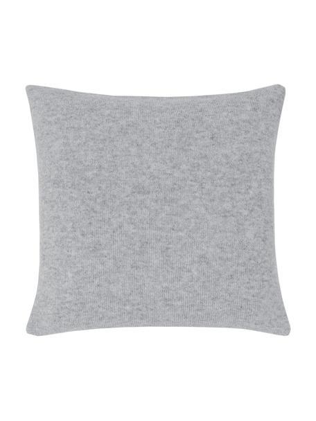 Federa arredo in cashmere finemente lavorato Viviana, 70% cashmere, 30% lana merino, Grigio chiaro, Larg. 40 x Lung. 40 cm