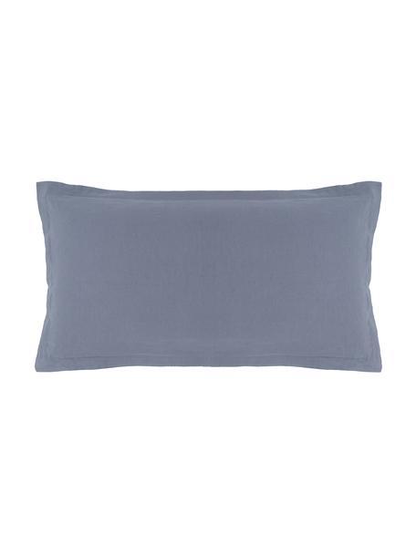 Gewaschene Leinen-Kopfkissenbezüge Nature in Blau, 2 Stück, Halbleinen (52% Leinen, 48% Baumwolle)  Fadendichte 108 TC, Standard Qualität  Halbleinen hat von Natur aus einen kernigen Griff und einen natürlichen Knitterlook, der durch den Stonewash-Effekt verstärkt wird. Es absorbiert bis zu 35% Luftfeuchtigkeit, trocknet sehr schnell und wirkt in Sommernächten angenehm kühlend. Die hohe Reißfestigkeit macht Halbleinen scheuerfest und strapazierfähig., Blau, 40 x 80 cm