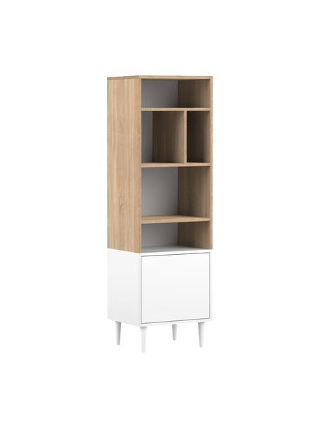 Schmales Standregal Horizon in Weiß mit Eichenholz-Optik, Füße: Buchenholz, massiv, lacki, Eichenholz, Weiß, 47 x 153 cm