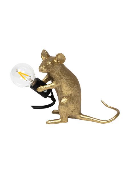 Lámpara de mesa pequeña de diseño Mouse, Lámpara: resina, Cable: plástico, Dorado, An 5 x Al 13