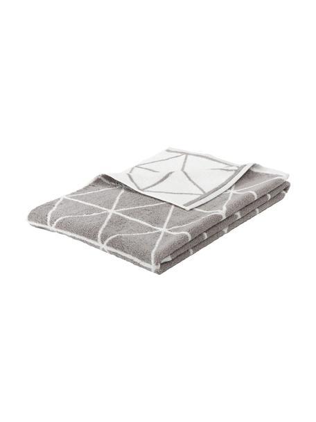 Dubbelzijdige handdoek Elina met grafisch patroon, 100% katoen, middelzware kwaliteit, 550 g/m², Taupe, crèmewit, Gastendoekje