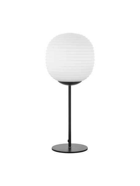 Tafellamp Rille van opaalglas, Lampenkap: opaalglas, Lampvoet: gecoat metaal, Zwart, opaalwit, Ø 20 x H 48 cm