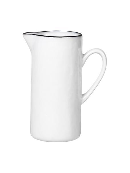 Porseleinen melkkan Salt met zwarte rand, 400 ml, Porselein, Wit, zwart, Ø 6  X H 12 cm