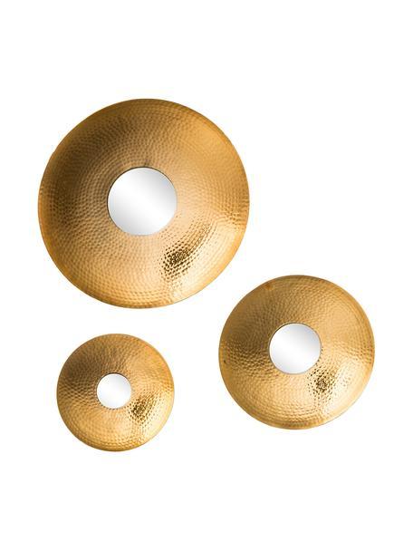 Set de espejos de pared Eyes, 3pzas., con marco martillado, Espejo: cristal, Dorado, Set de diferentes tamaños