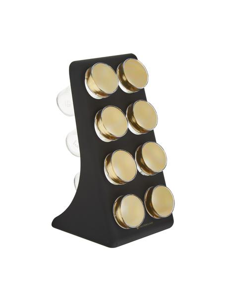 Set portaspezie nero/dorato Master Class 9 pz, Contenitore: vetro, metallo rivestito, Nero, ottonato, Larg. 13 x Alt. 26 cm