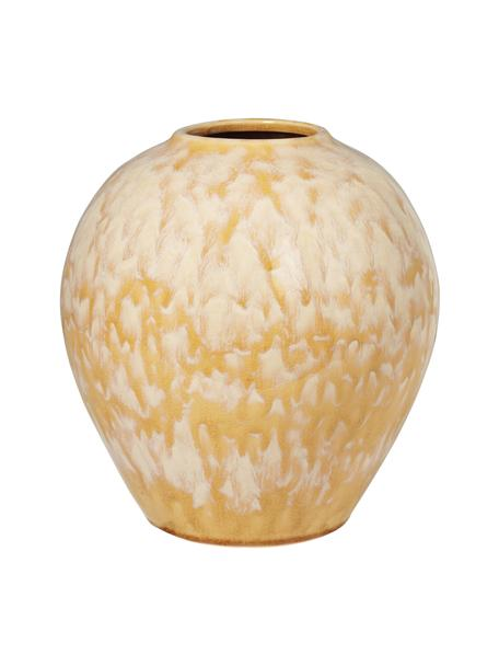 Keramik-Vase Ingrid in Gelb, Keramik, Gelb, Beige, Ø 24 x H 26 cm