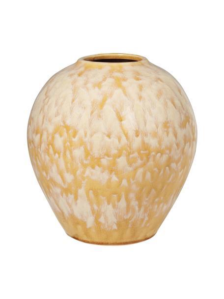 Vaso in ceramica gialla Ingrid, Ceramica, Giallo, beige, Ø 24 x Alt. 26 cm