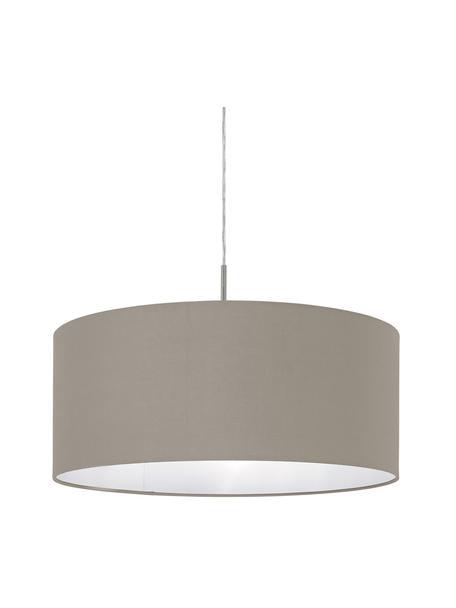 Hanglamp Parry, Baldakijn: vernikkeld metaal, Fitting: vernikkeld metaal, Lampenkap: textiel, Zilverkleurig, taupe, Ø 53  x H 25 cm